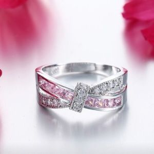 Pink Topaz 925 Sterling Silver Fashion Ring 8